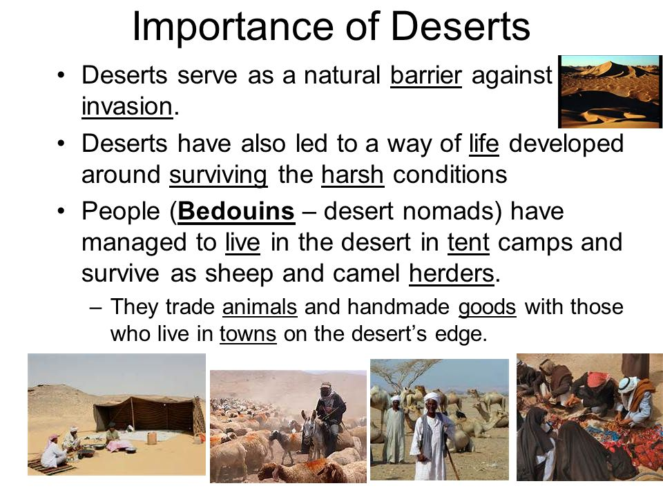 Importance of Deserts Deserts serve as a natural barrier against invasion.
