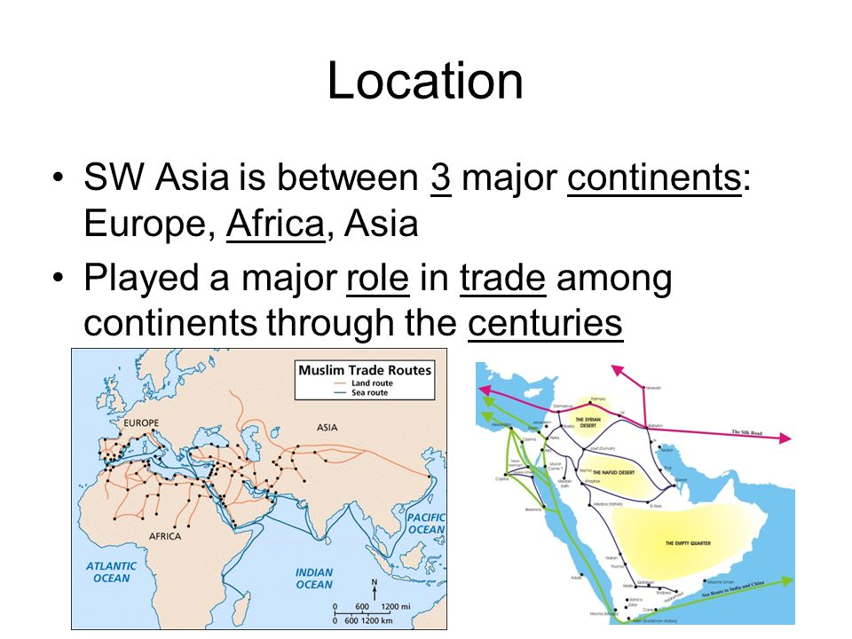 Location SW Asia is between 3 major continents: Europe, Africa, Asia