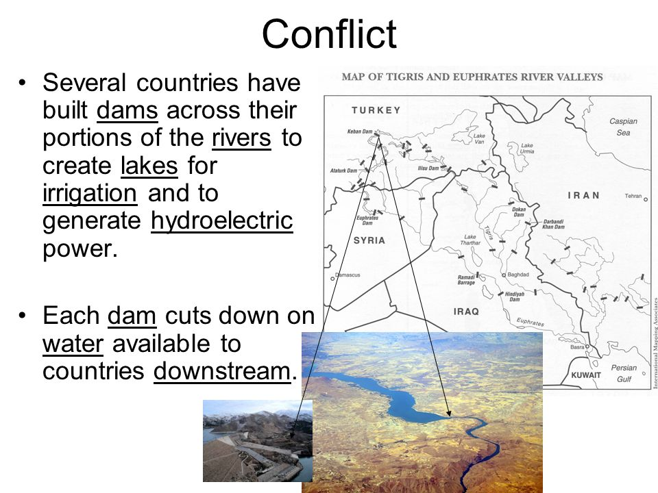 Conflict Several countries have built dams across their portions of the rivers to create lakes for irrigation and to generate hydroelectric power.