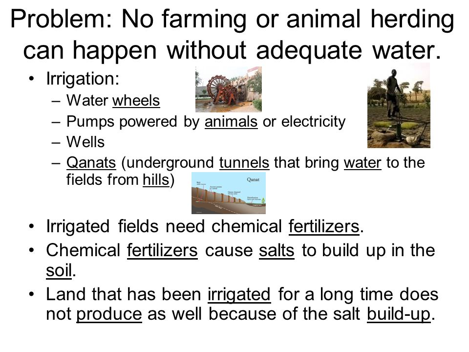 Problem: No farming or animal herding can happen without adequate water.