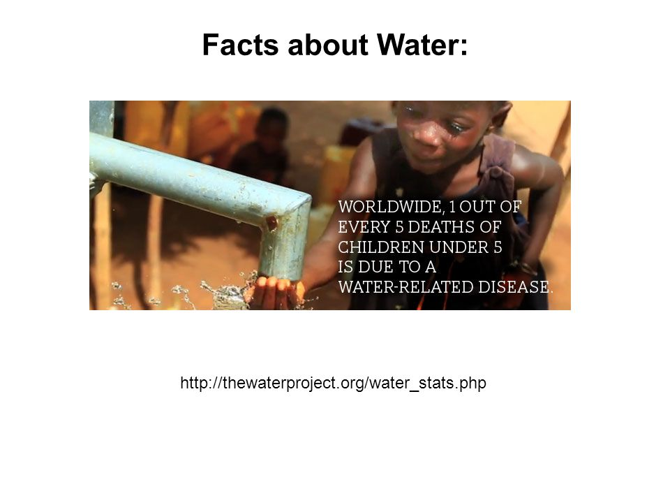 Facts about Water: http://thewaterproject.org/water_stats.php