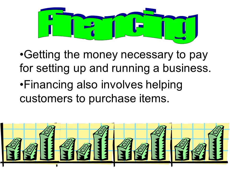 Financing Getting the money necessary to pay for setting up and running a business.
