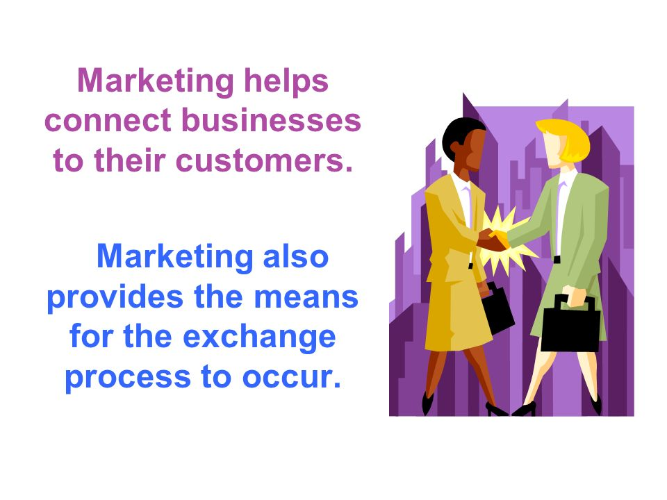Marketing helps connect businesses to their customers.