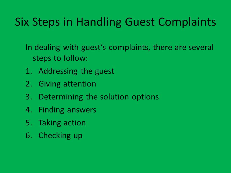 Six Steps in Handling Guest Complaints