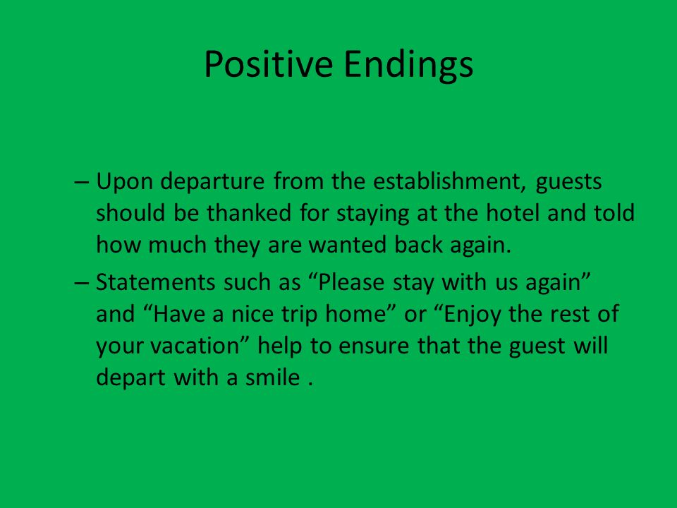 Positive Endings