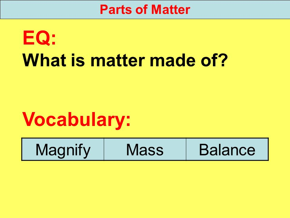 EQ: Vocabulary: What is matter made of Magnify Mass Balance