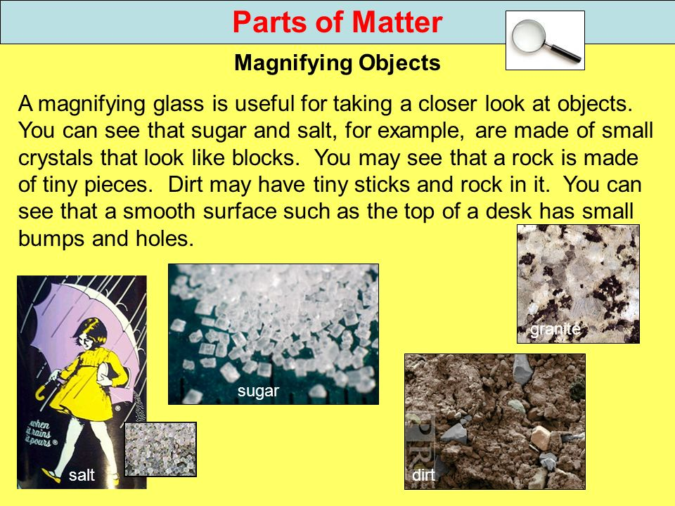 Parts of Matter Magnifying Objects