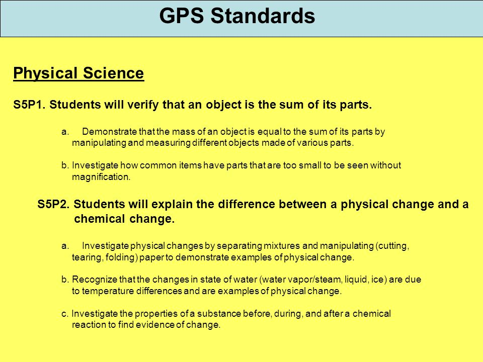 GPS Standards Physical Science