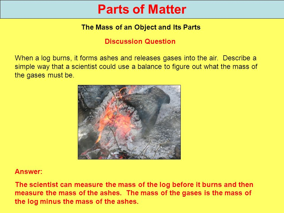 Parts of Matter The Mass of an Object and Its Parts