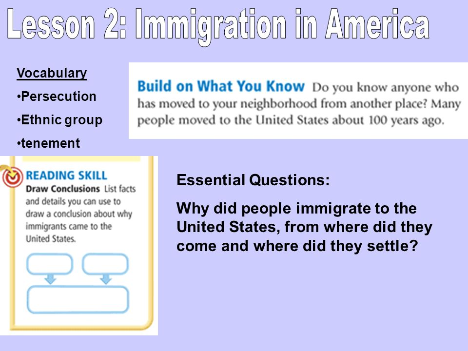 Lesson 2: Immigration in America