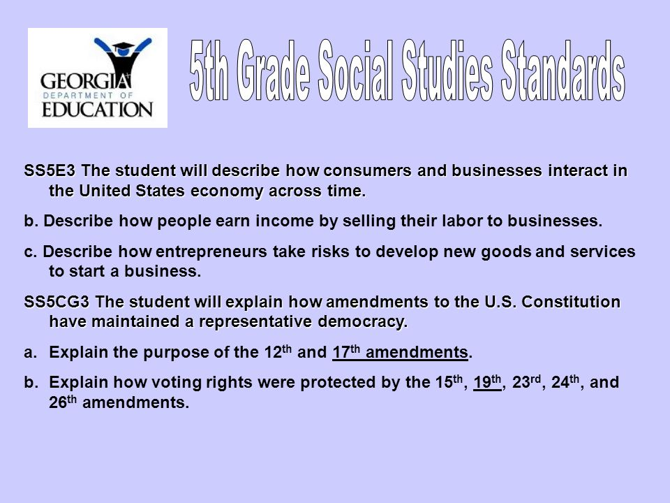 5th Grade Social Studies Standards
