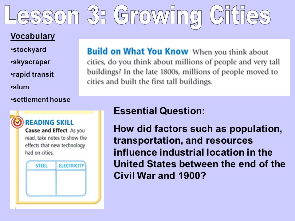 Lesson 3: Growing Cities