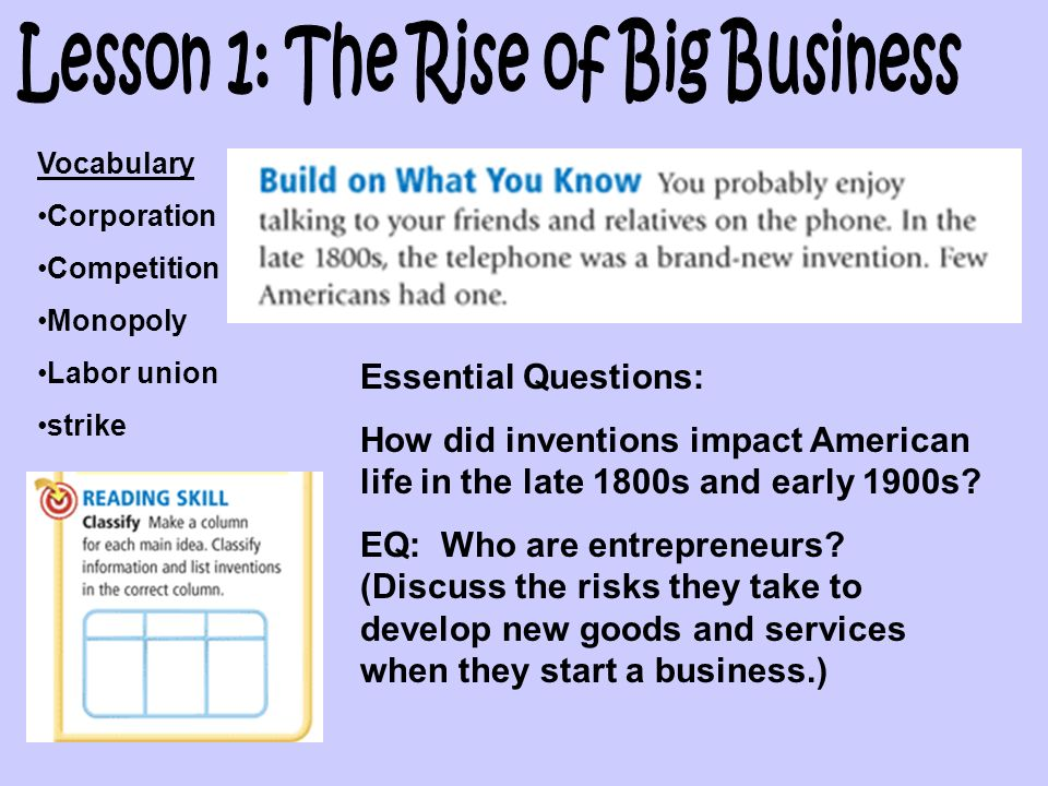 Lesson 1: The Rise of Big Business