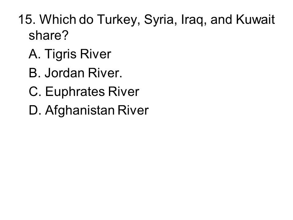 15. Which do Turkey, Syria, Iraq, and Kuwait share