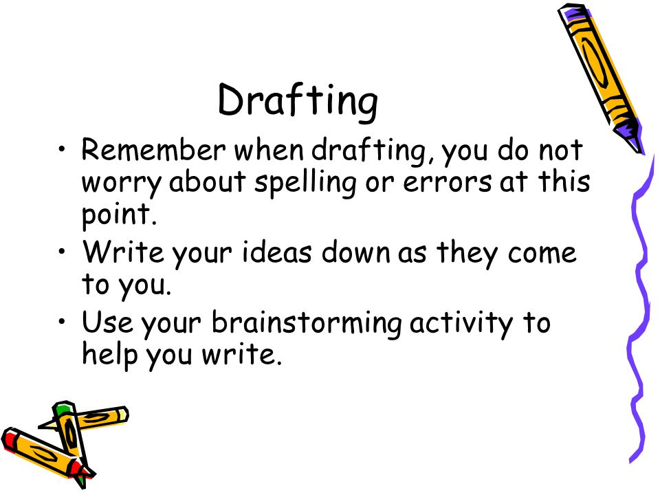 Drafting Remember when drafting, you do not worry about spelling or errors at this point. Write your ideas down as they come to you.