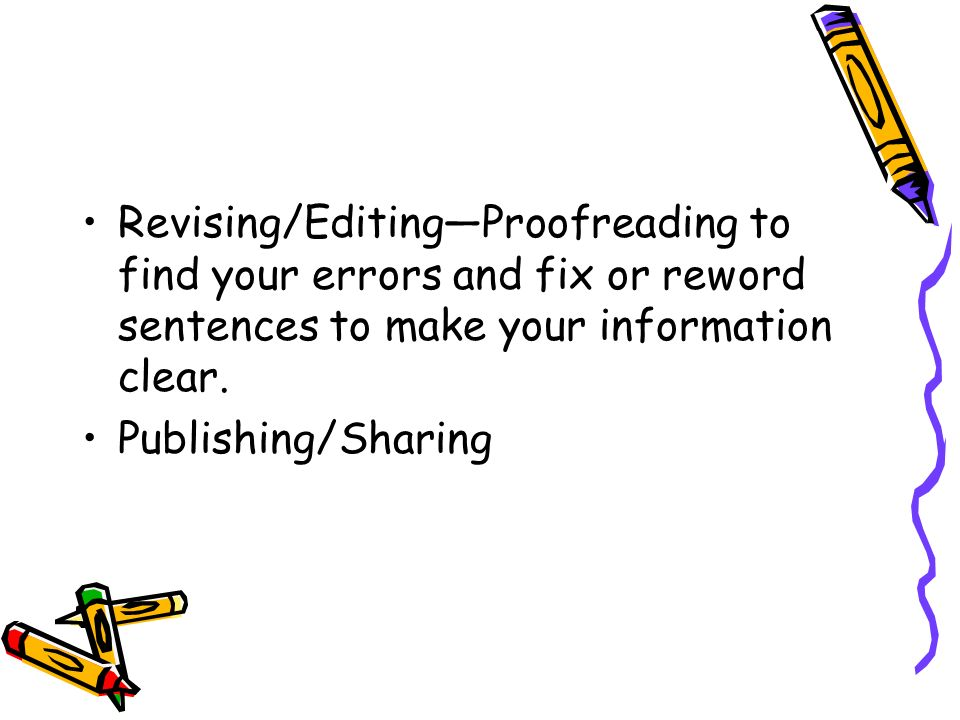 Revising/Editing—Proofreading to find your errors and fix or reword sentences to make your information clear.