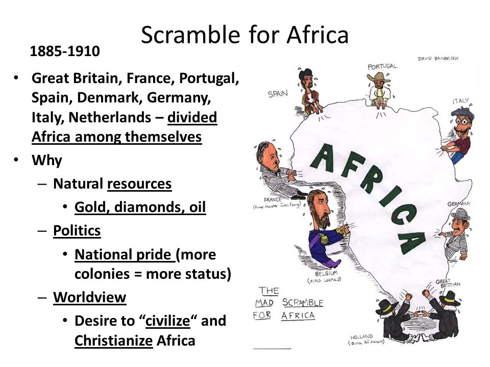 Scramble for Africa 1885-1910. Great Britain, France, Portugal, Spain, Denmark, Germany, Italy, Netherlands – divided Africa among themselves.