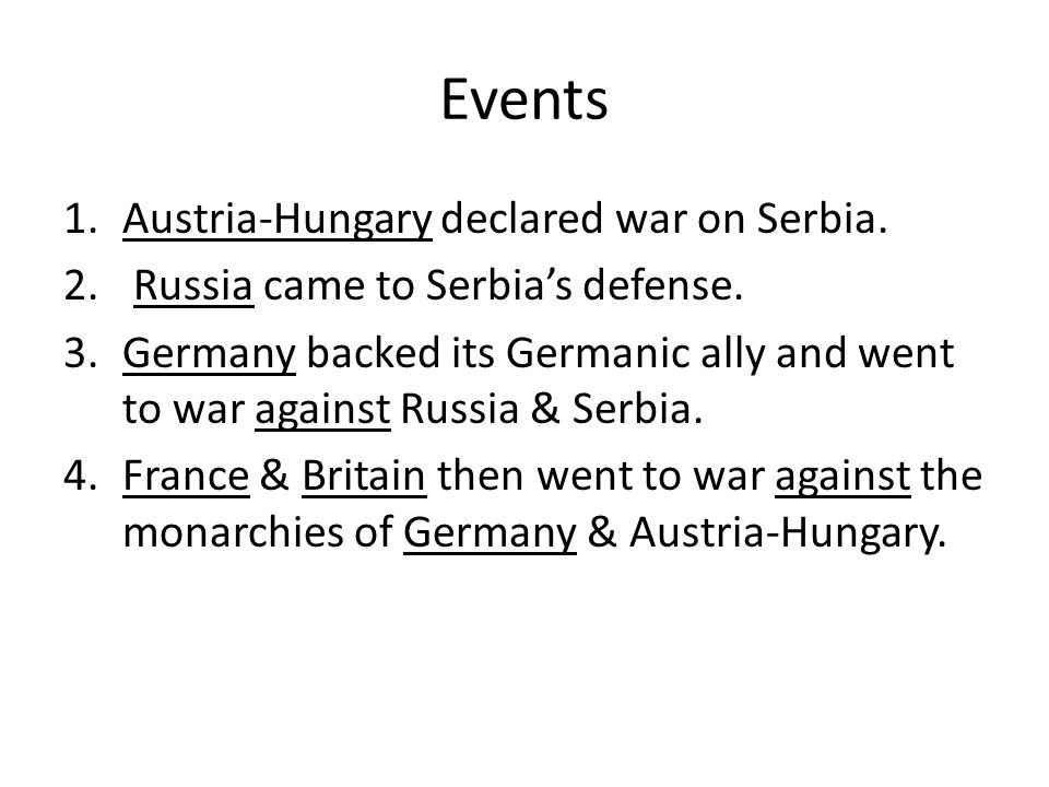 Events Austria-Hungary declared war on Serbia.