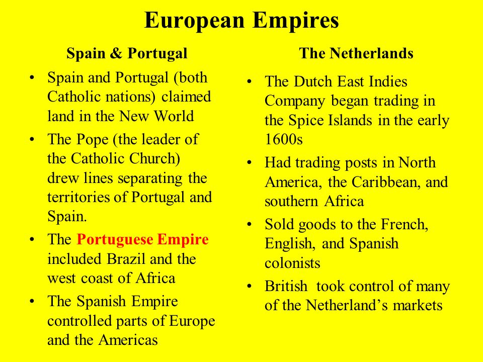 European Empires Spain & Portugal The Netherlands