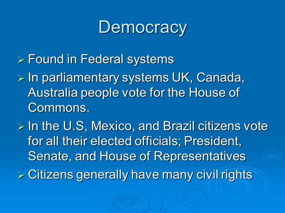 Democracy Found in Federal systems