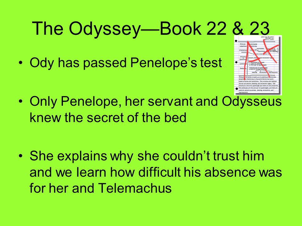 The Odyssey—Book 22 & 23 Ody has passed Penelope's test