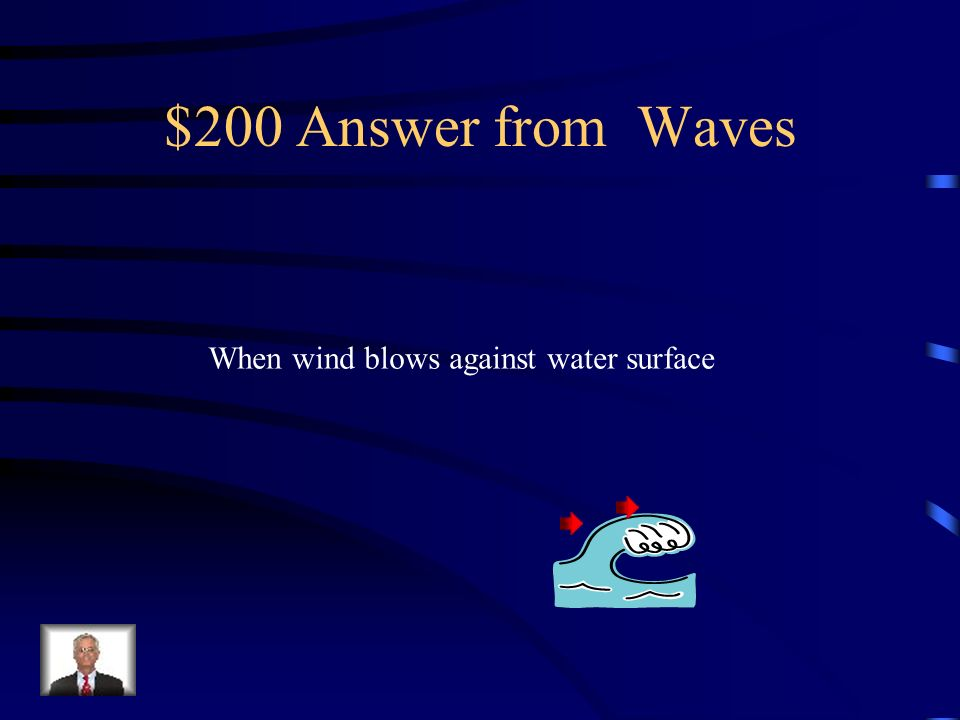 $200 Answer from Waves When wind blows against water surface