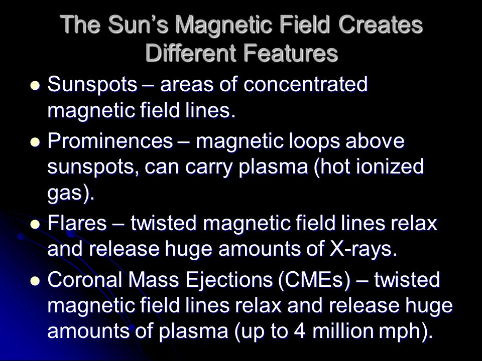 The Sun's Magnetic Field Creates Different Features