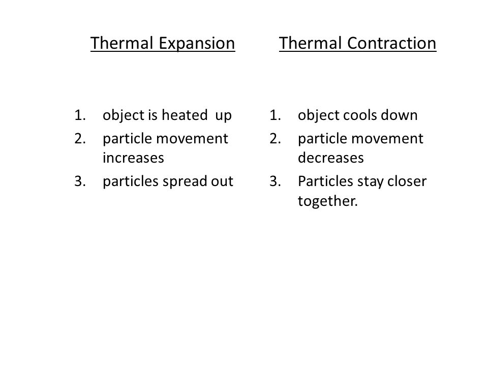 Thermal Expansion Thermal Contraction object is heated up