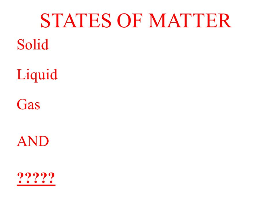 STATES OF MATTER Solid Liquid Gas AND