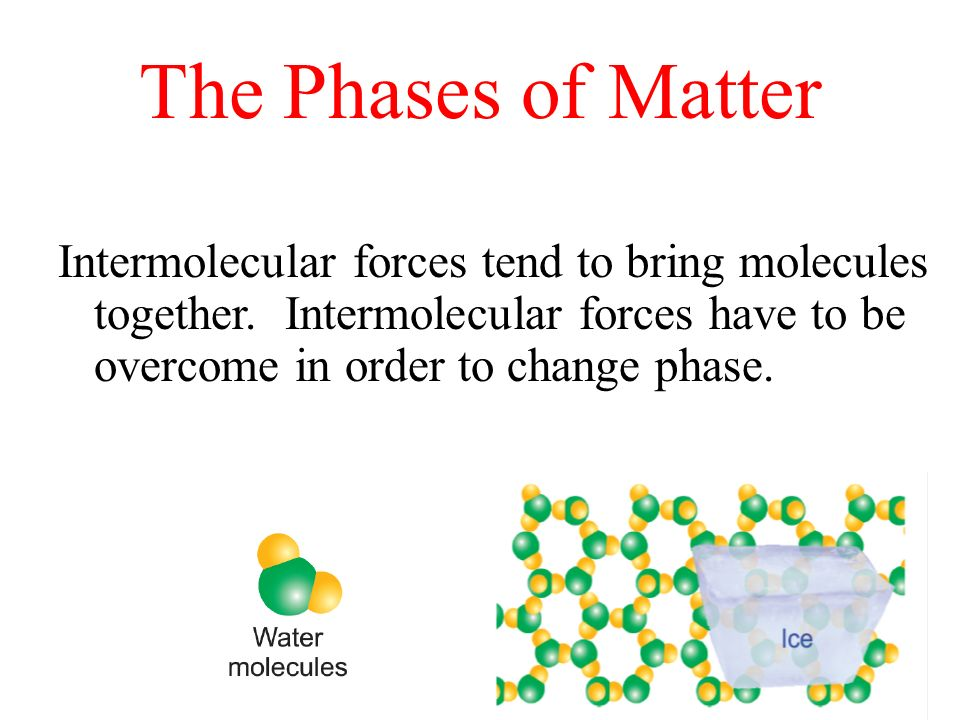 The Phases of Matter Intermolecular forces tend to bring molecules together.