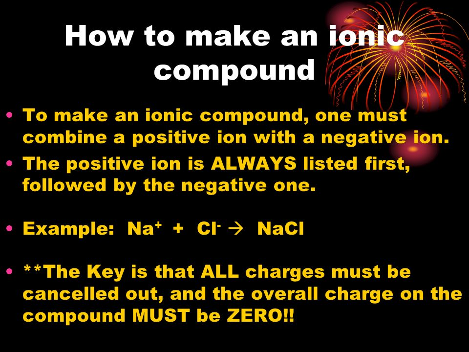How to make an ionic compound