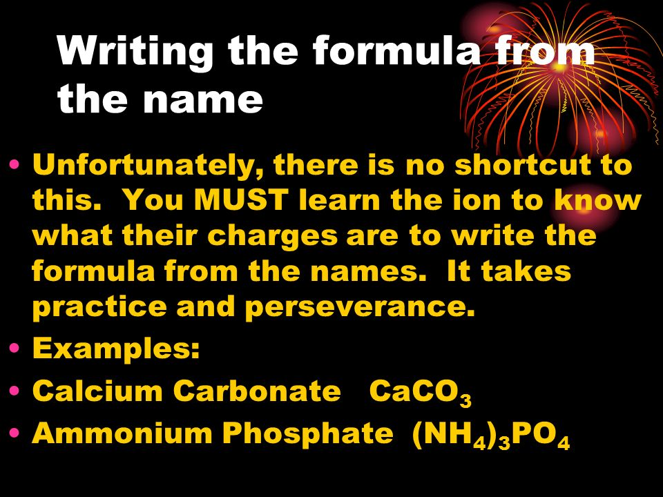 Writing the formula from the name