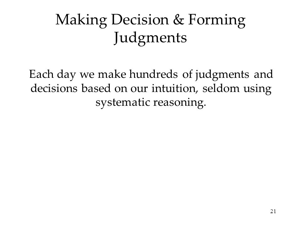 Making Decision & Forming Judgments