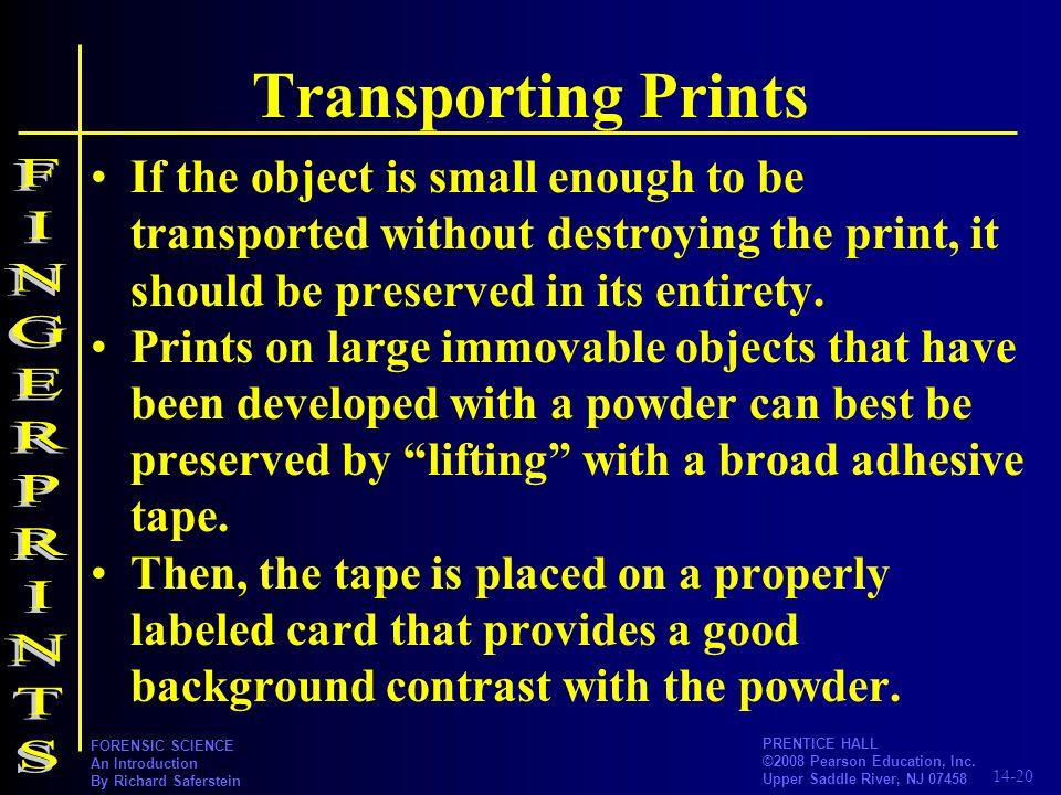Transporting Prints FINGERPRINTS