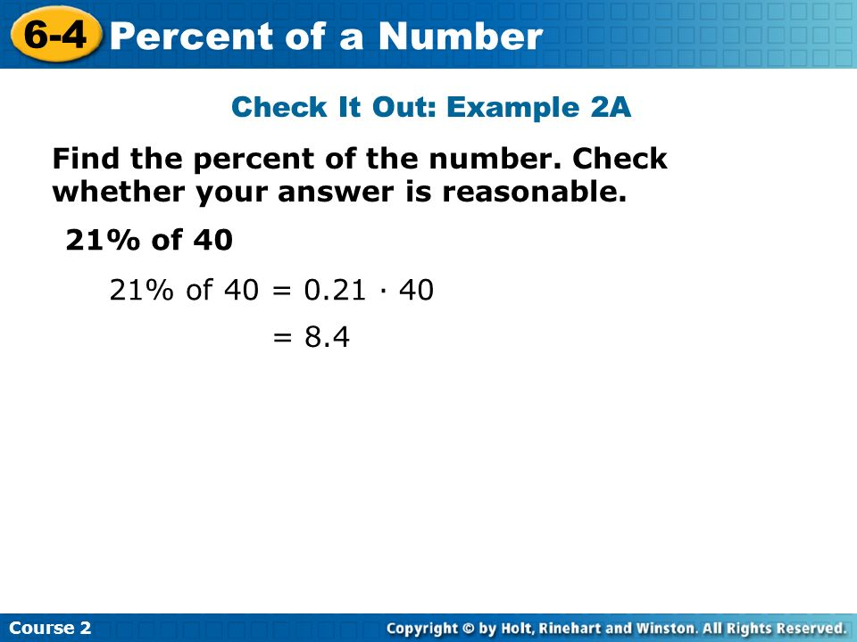 6-4 Percent of a Number Check It Out: Example 2A