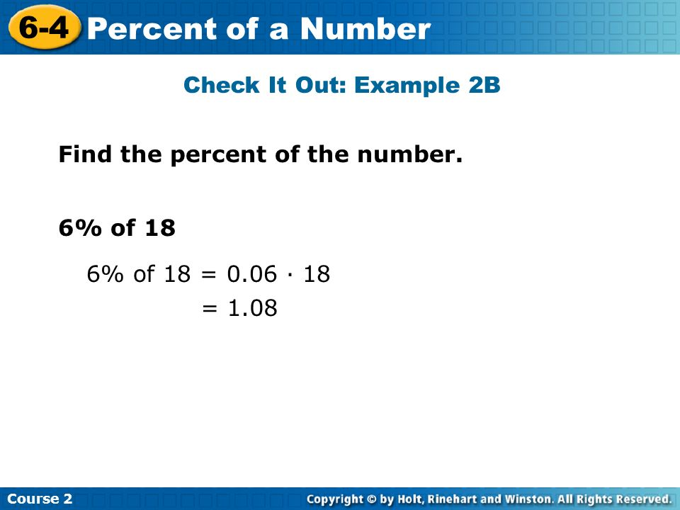 6-4 Percent of a Number Check It Out: Example 2B
