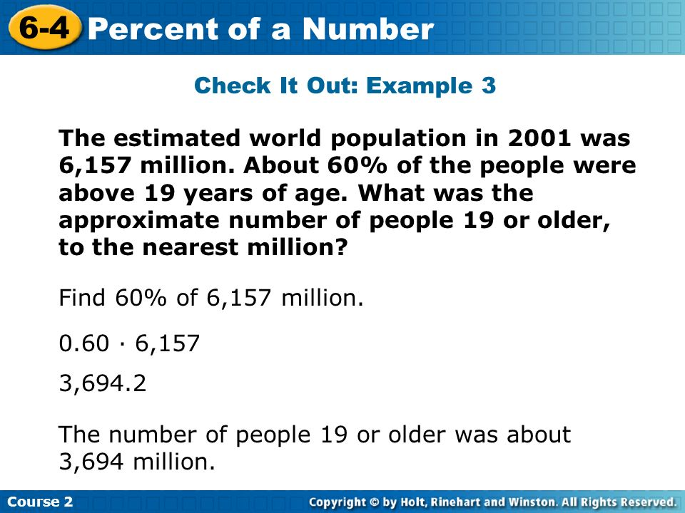 6-4 Percent of a Number Check It Out: Example 3