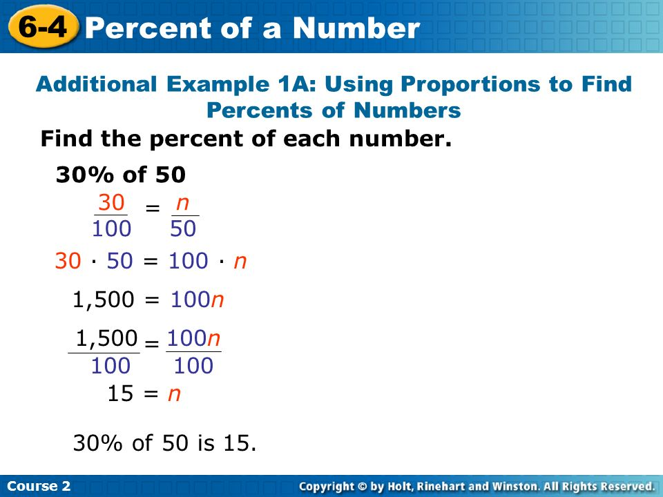 Additional Example 1A: Using Proportions to Find Percents of Numbers