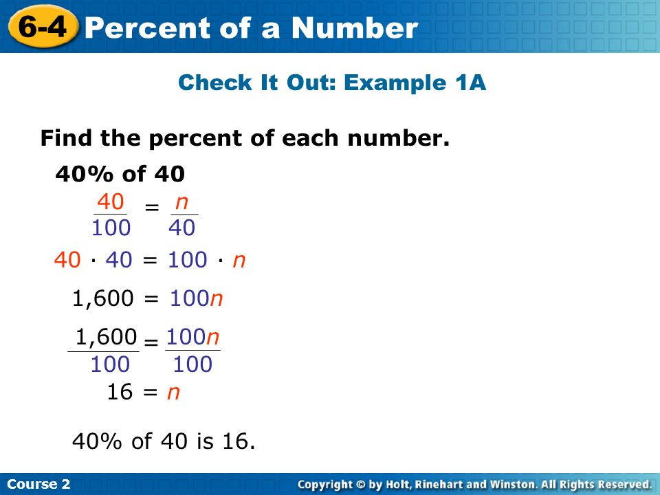 6-4 Percent of a Number Check It Out: Example 1A