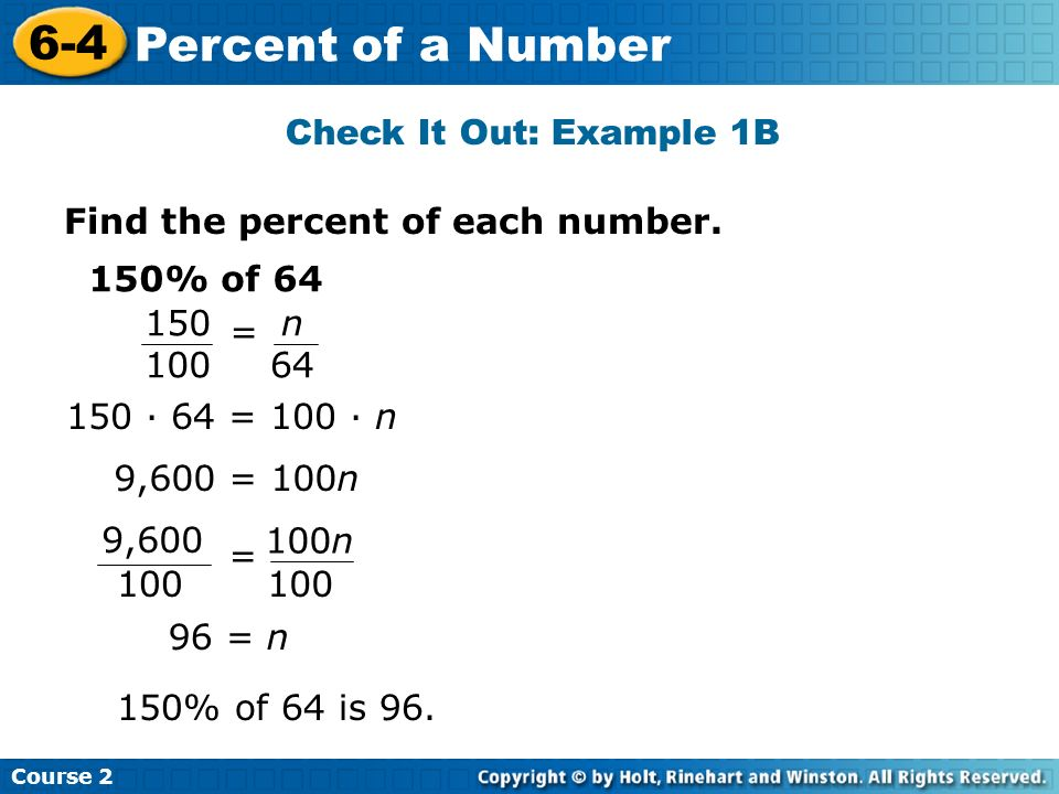 6-4 Percent of a Number Check It Out: Example 1B