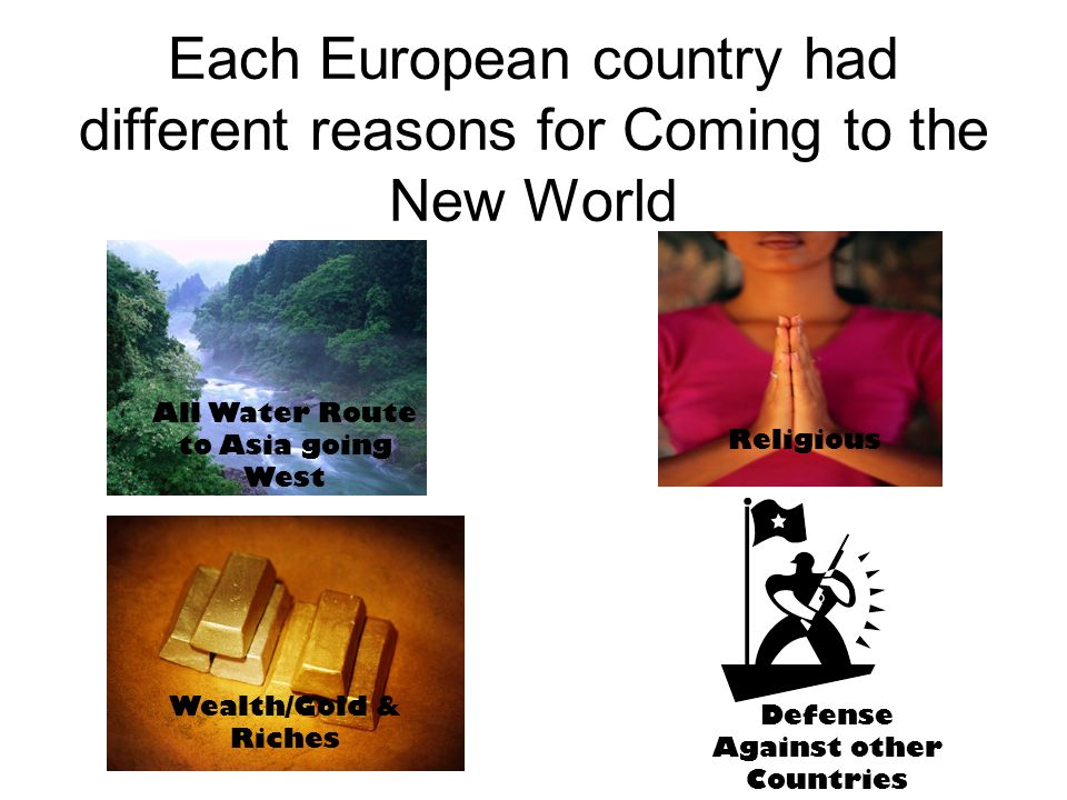 Each European country had different reasons for Coming to the New World