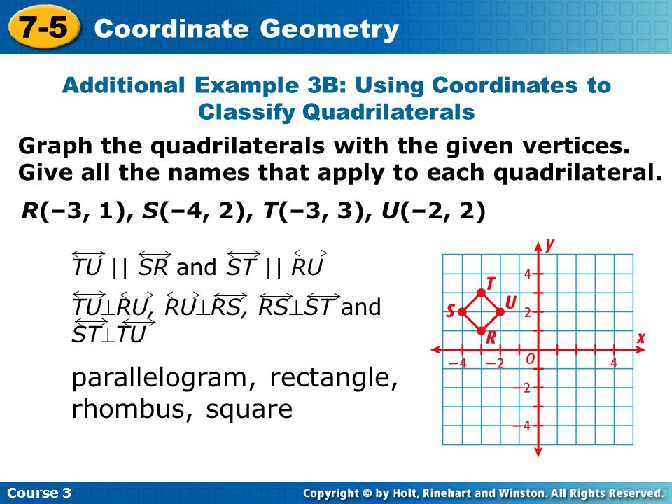 Additional Example 3B: Using Coordinates to Classify Quadrilaterals