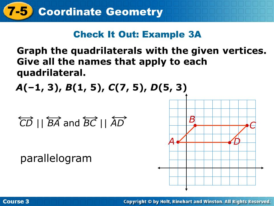 7-5 Coordinate Geometry parallelogram Check It Out: Example 3A