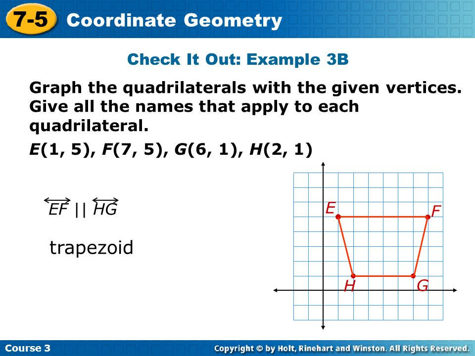 7-5 Coordinate Geometry trapezoid Check It Out: Example 3B