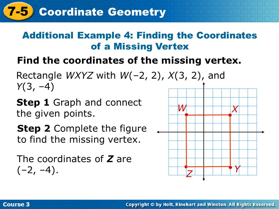 Additional Example 4: Finding the Coordinates of a Missing Vertex