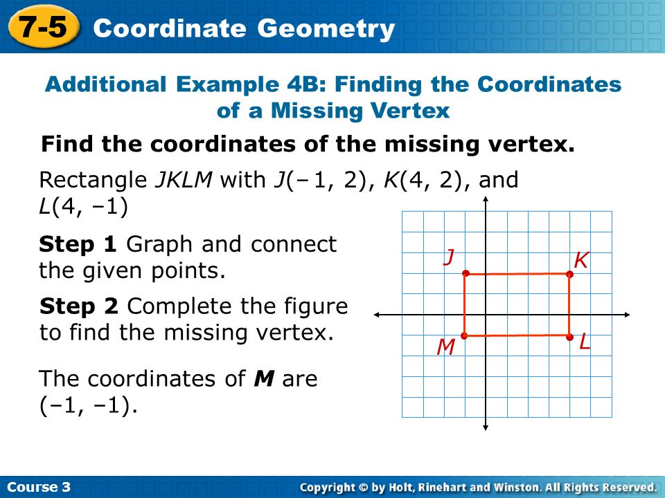 Additional Example 4B: Finding the Coordinates of a Missing Vertex