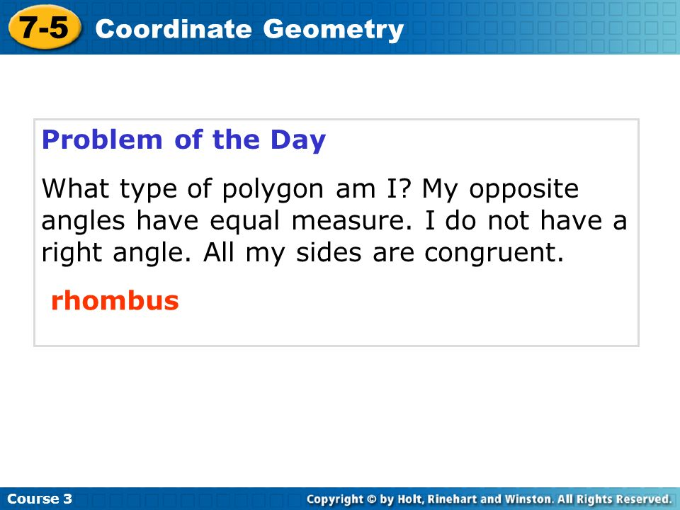 7-5 Coordinate Geometry Problem of the Day