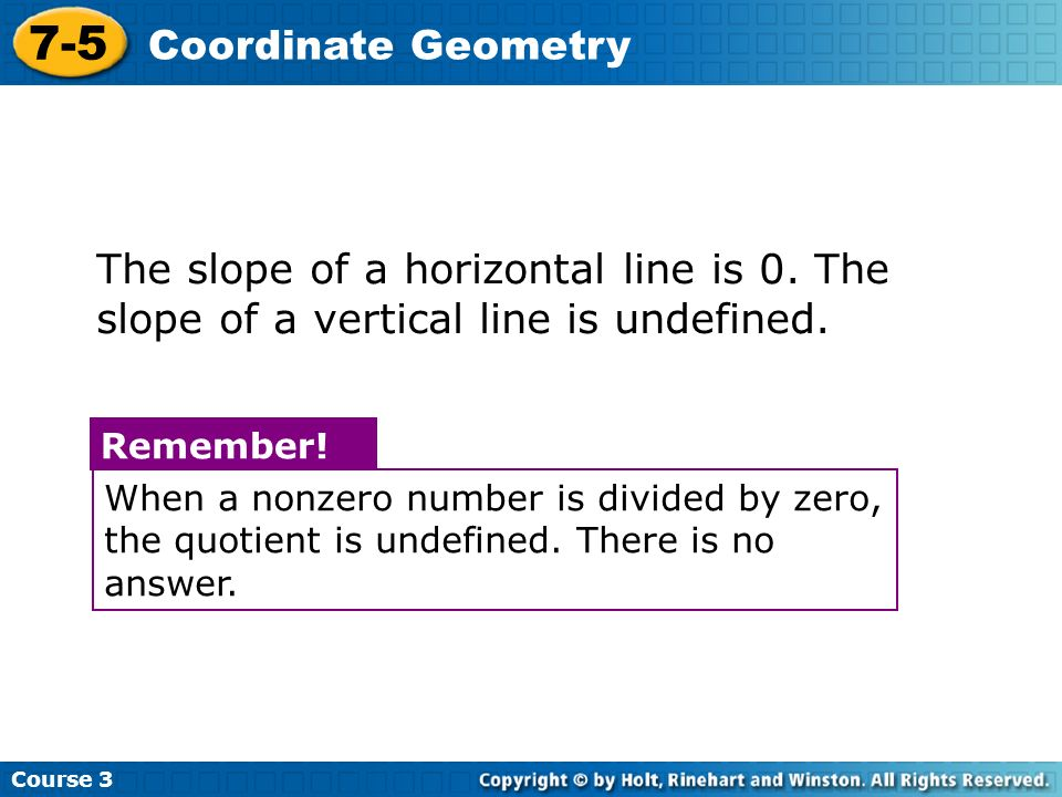 Course Coordinate Geometry. The slope of a horizontal line is 0. The slope of a vertical line is undefined.