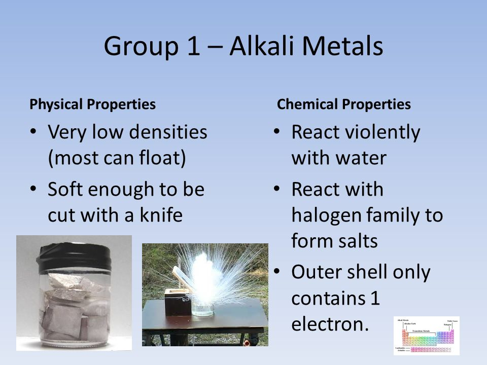 Group 1 – Alkali Metals Very low densities (most can float)