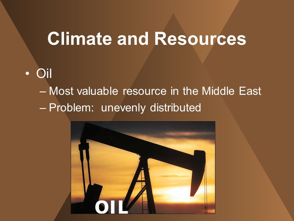Climate and Resources Oil Most valuable resource in the Middle East